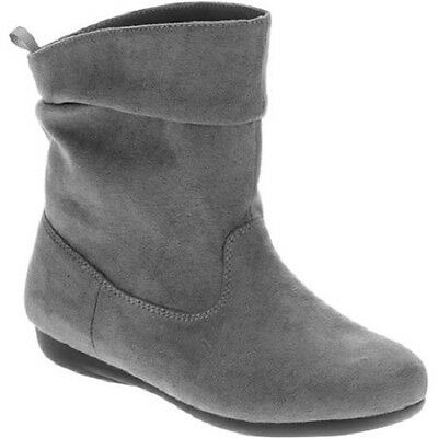 Faded Glory Girls' Classic Slouch Pull On Boots GRAY Size 6  NWT