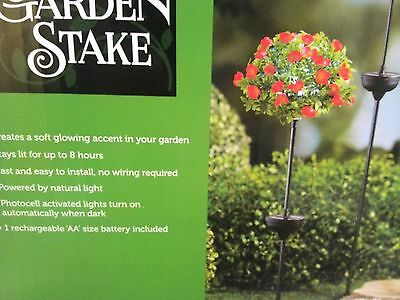 New Solar Powered Rose Lighted Floral Stake Yard Lawn Garden Deco
