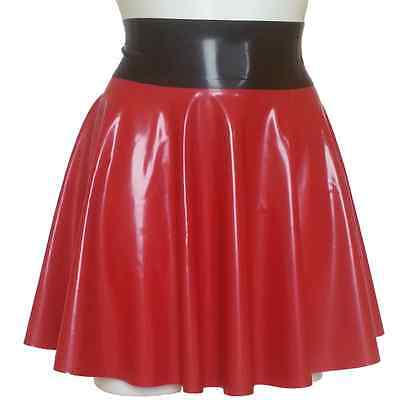 Latex Rubber Full Circle Skating Skirt TV UNISEX SEXY  SIZE: S-XXL RED BLACK