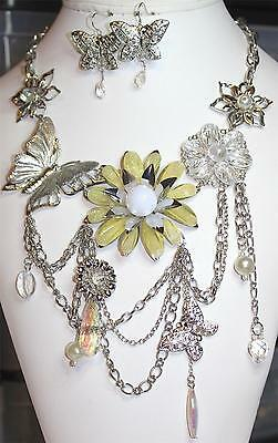 Butterflies & Flowers Necklace & Earrings Multi Rhodium Plated Silver Chain D438