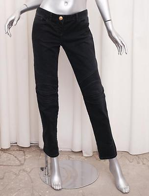 f68a34a6 BALMAIN Womens Black Cotton Quilted Moto Motorcycle Slim Denim Jeans 42/8 M