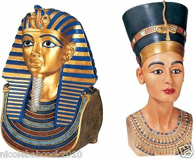 Set Of 2 Ancient Egyptian Royal King And Queen Sculptural Busts Meduium