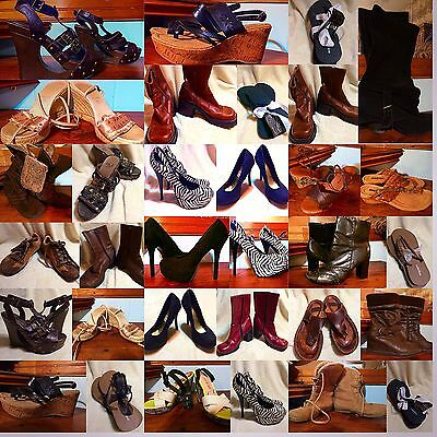 Lot Of 24 Shoes BKE MINNETONKA NAUGHTY MONKEY STEVE MADDEN Boots Sandals Heels