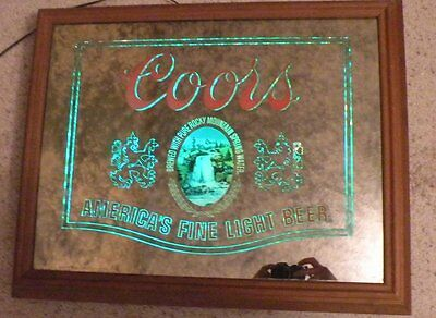 1979 Coors light beer back lighted mirror sign wood frame great for home bar