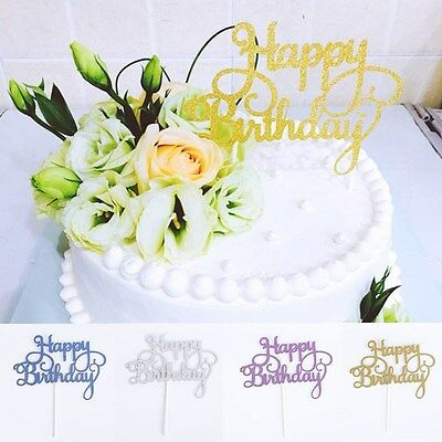 2016 Silver Cake Topper Happy Birthday Party Supplies Decorations Kids Rose