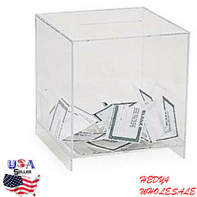 "Ballot Raffle Box Clear Acrylic Charity Giveaway Donation 9""W x 9¾""H x 9D Large"