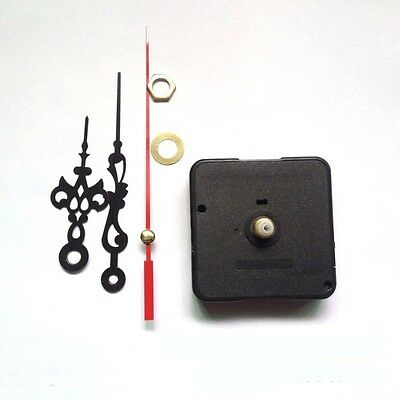 Black Hands DIY Quartz Clock Spindle Movement Mechanism Repair Parts Kit UK