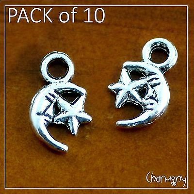Tiny Moon & Star charms ~PACK of 10~ Tibetan silver pagan wicca crescent bead
