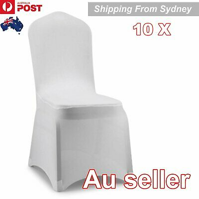 10 X White Chair Covers Full Seat Cover Spandex Lycra Stretch Banquet Wedding Pa