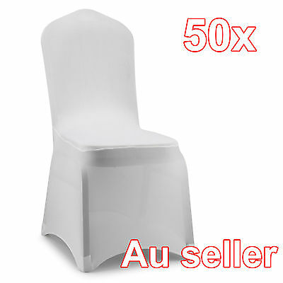 50 X White Chair Covers Full Seat Cover Spandex Lycra Stretch Banquet Wedding Pa