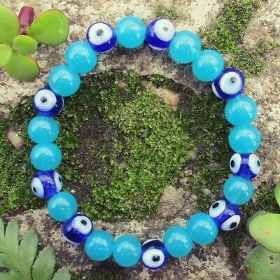Lucky BLUE EVIL EYE Protection Safety Travel Amulet Talisman Glass Bead Bracelet