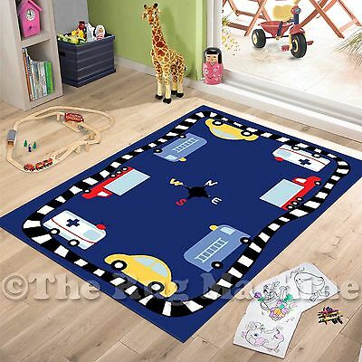 CARTOON CARS & TRUCKS KIDS FUN PLAY RUG 100x150cm NON-SLIP & WASHABLE **NEW**