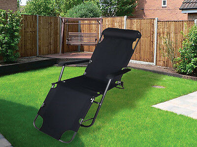 New Black Folding Gravity Sun Lounger Deck Chair Recliner Garden Bed Reclining