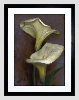 Painting Still Life Flower Tiffany Calla Lilies Framed Art Print Mount B12X3696