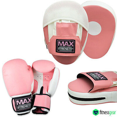 Ladies Boxing Focus Pads Hook and Jab Pro Fight Training Punch Gloves MMA