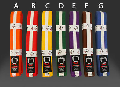 KnockOut Martial Arts Karate Taekwondo Judo Coloured Belt with White Stripe