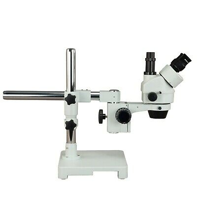 OMAX 7X-45X Trinocular Zoom Stereo Microscope on Single Bar Boom Stand