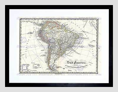 Map Illustrated Antique Spruner South America Framed Print B12X4983