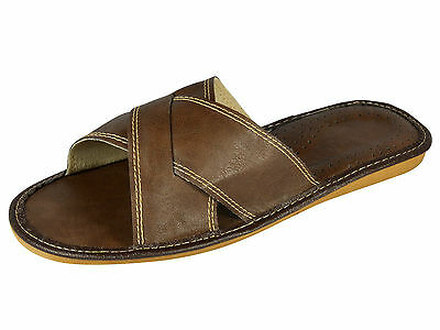 Mens Ecological Leather Slippers Shoes Sandals, Flip Flops, Brown Size 6-12