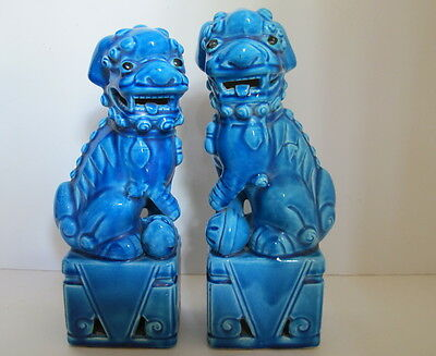 """Antique Pair Asian Chinese Blue Foo Dogs Porcelain Figurines 8.5"""" tall"""
