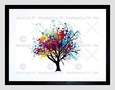Painting Illustration Abstract Colourful Tree Splash Framed Art Print B12X12881