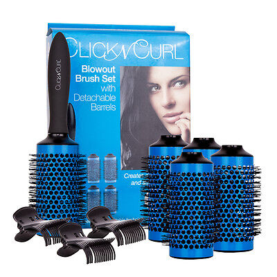 CLICK N CURL Large Round Styling Brush Full Set 5 Bürsten NEU