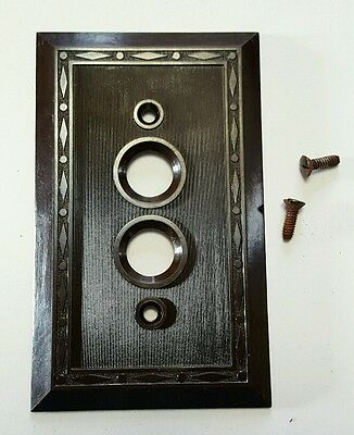 Vintage Leviton Art Deco 2 Push Switch Faceplate Cover Brown Bakelite