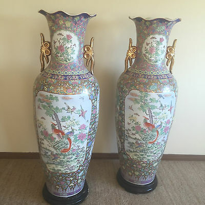 Pair of fine Chinese Antique Hand Painted Vases