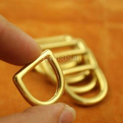 10x Solid Brass D-shaped Ring For bags Leathercraft Accessory ,craft Hardware