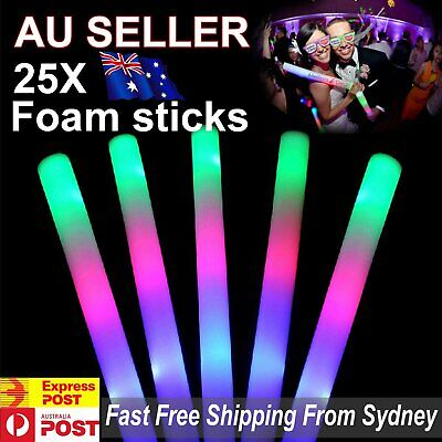 25x LED Foam Sticks RGB Thunder 48cm Glow Stick Flashing Light Rave Party Cheer