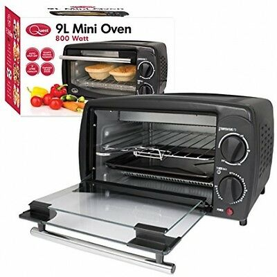 Compact Mini Oven Cooker Grill 9 Litre Black Work Top Kitchen New Free Shipping
