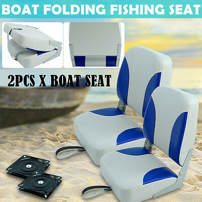 2x Blue And White Marine Speedboat Folding Fishing Boat Seat Chair