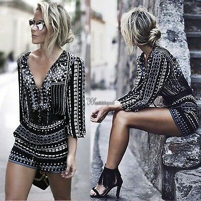 Vintage Women Clubwear V Neck Playsuit Bodycon Party Jumpsuit Romper Trousers