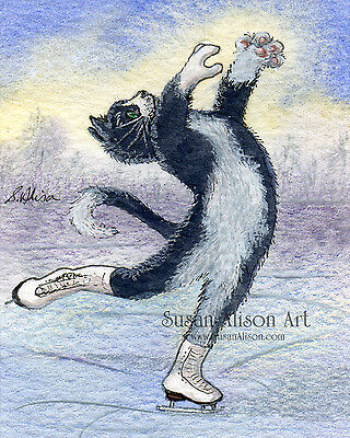 Ice skating tuxedo cat 8x10 print figure lay back spin attitude position Alison