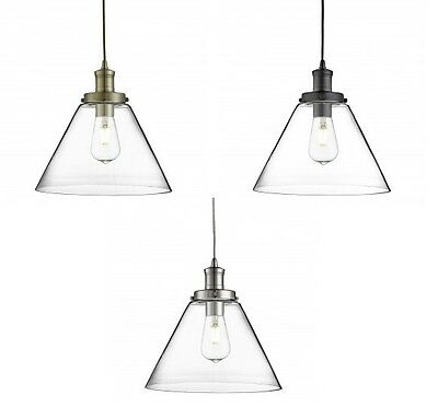 Searchlight Pyramid Ceiling Pendant Light With Clear Domed Glass Shade