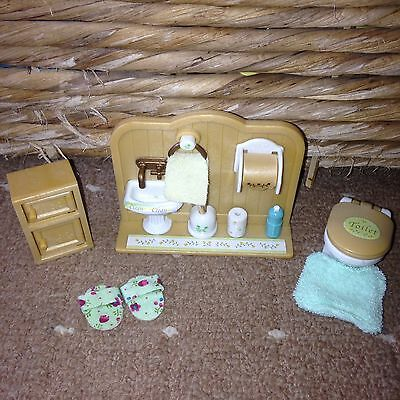 Sylvanian Families Bathroom Set Includes Sylvanian Family Toilet