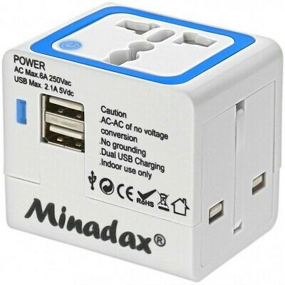 Minadax® All in One Travel Adapter 2x USB Power Ladegerät 2100mA Reiseadapter