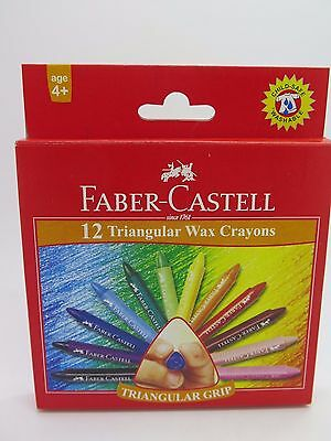 Genuine Faber-Castell 12 Triangular Wax Crayons - Extra Smooth (Age 4+)
