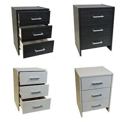 Bedside Cabinet 3 Drawer Black or White Night Stand Metal Runners Silver Handles