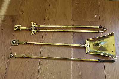 Brass Arts And Crafts Fire Companions, Poker, Shovel & Tongs With Reg Mark