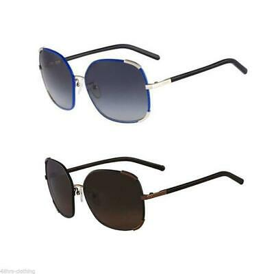 Chloe Womens Oversized Square Luxury Sunglasses Eyewear Bronze Blue Silver Ce109