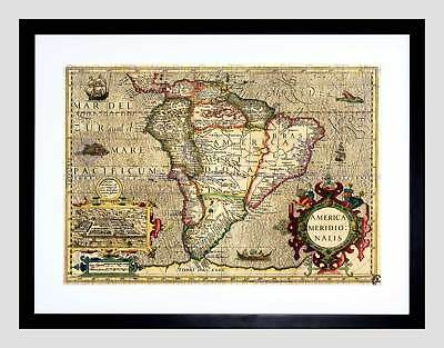 Map Antique South America Mercator Brazil Ocean Framed Art Print B12X7095