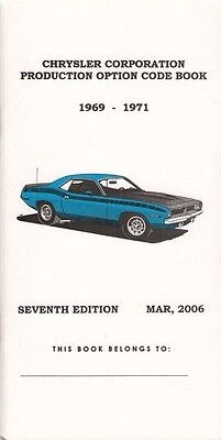 Dodge, Plymouth,  Chrysler Option Code Book 1969, 1970, 1971