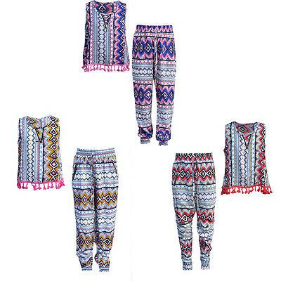 50% OFF New Kids Girls Tribal Aztec Tassel Sleeveless Trouser Top Set CHILDREN