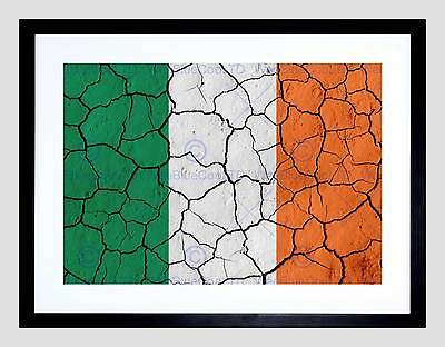 PAINTING ABSTRACT FLAG CRACKED CONCRETE IRELAND IRISH TRICOLOUR POSTER BMP10259