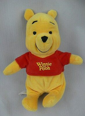 "Disney Winnie The Pooh Stuffed Plush Toy 7"" Tall Wearing Red T-Shirt"