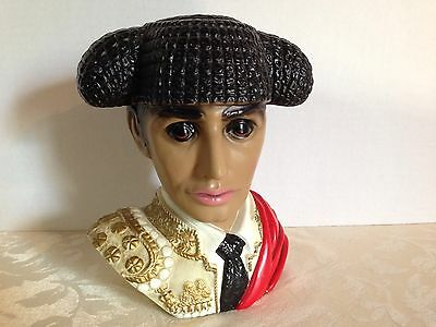 Vintage LEGO Spanish Matador/Bull Fighter Head Bust Chalkware Hand-Painted_Japan