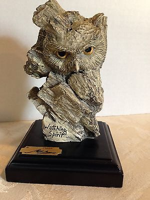 """""""Watching Spirit"""" Hand-Carved WOOD OWL_Marka Gallery Sculpture_Indonesia_Signed"""