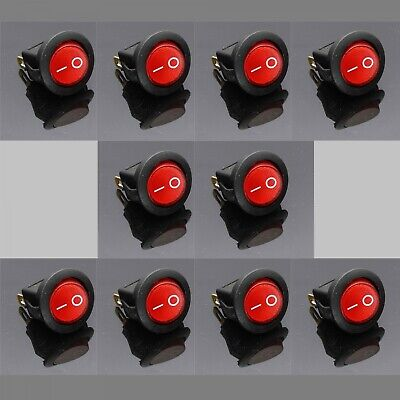 10x Small Red Round Rocker Switch Red Illuminated Lighted Mini Automotive On/Off