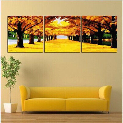 """DIY 20X20"""" Acrylic Paint By Number On Canvas Three Parts Kit Autumn Trees 222"""